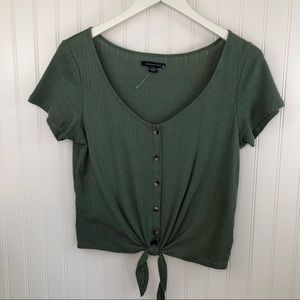 American Eagle Women's Front Tie Army Green Shirt